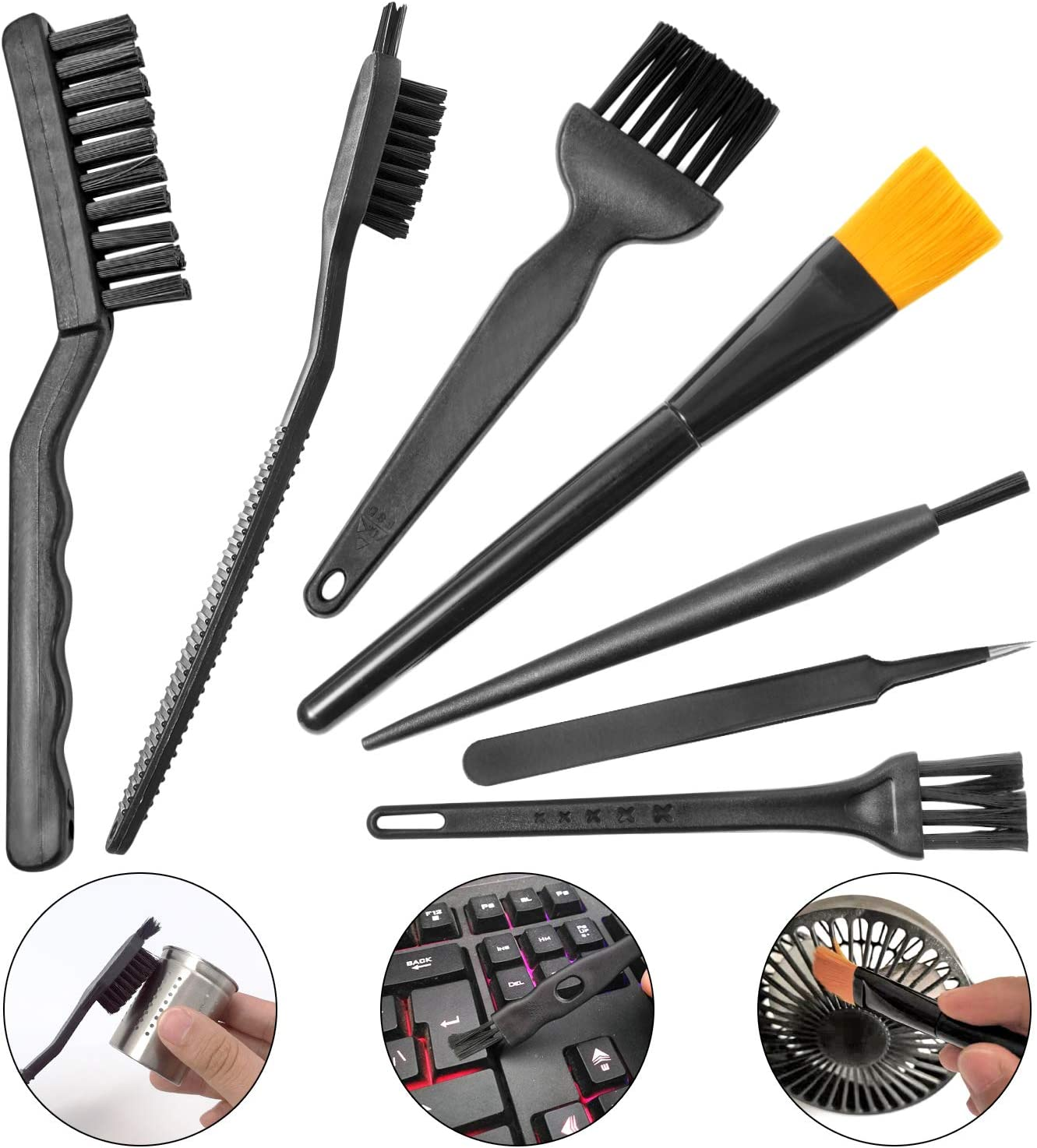 Computer PC Keyboard Laptop Electronics Camera Small Cleaning Brush Kit (Black, Set of 7)