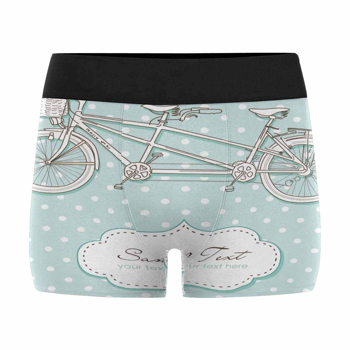InterestPrint Mens Boxer Briefs Underwear Tandem Bicycle Wedding Invitation with Polka Dot XXXL