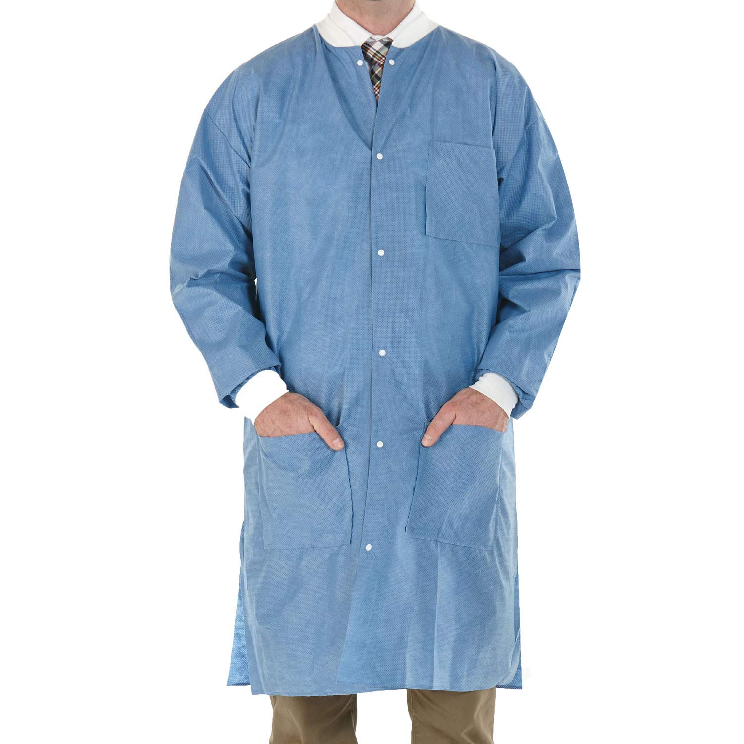 EOM High Performance SMS Disposable Lab Coat With Knit Cuffs and Collar, 3 Pockets Thigh Length Pack of 30, Size Medium