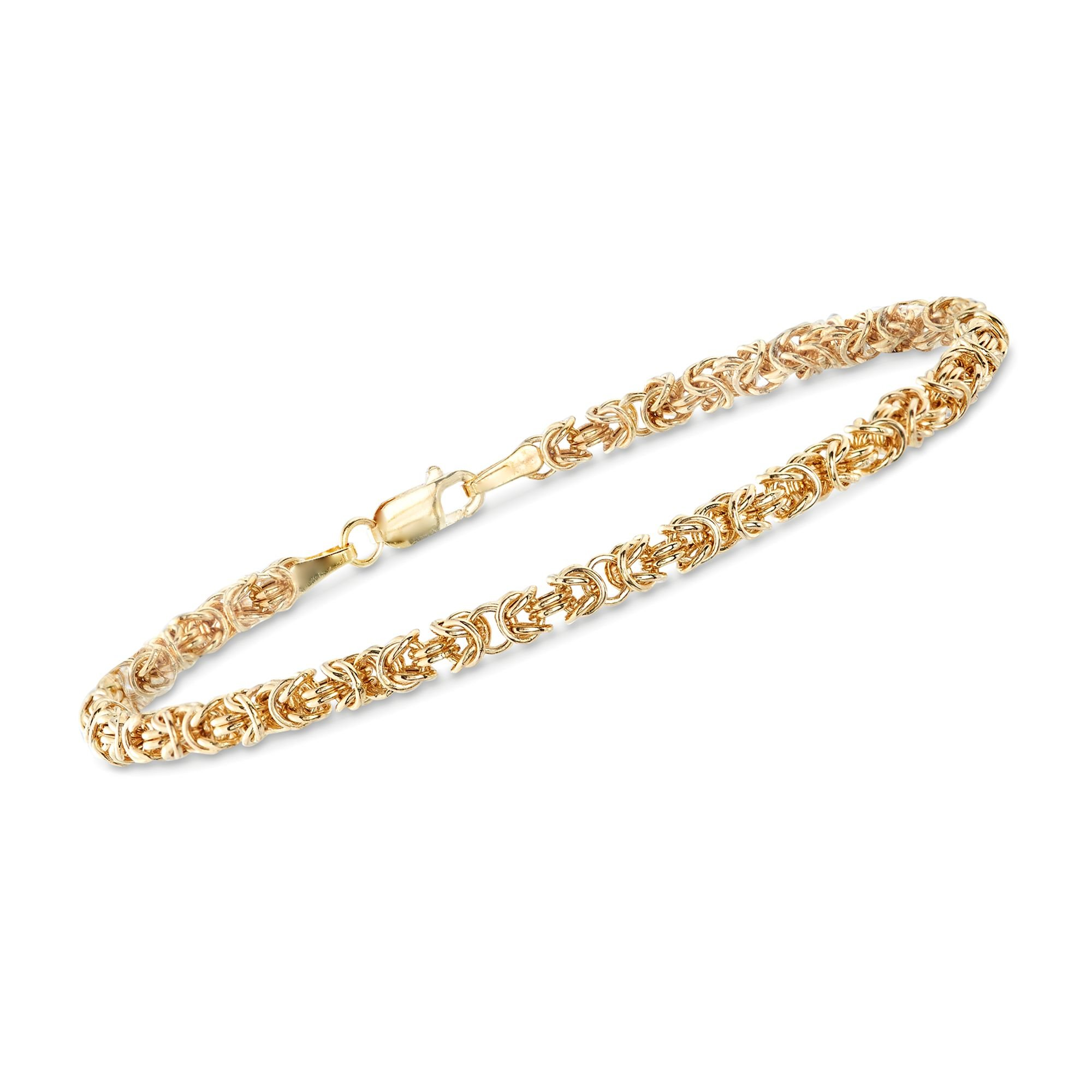 Ross-Simons Italian 14kt Yellow Gold Byzantine Bracelet With Rolled Edges, Includes Presentation Box