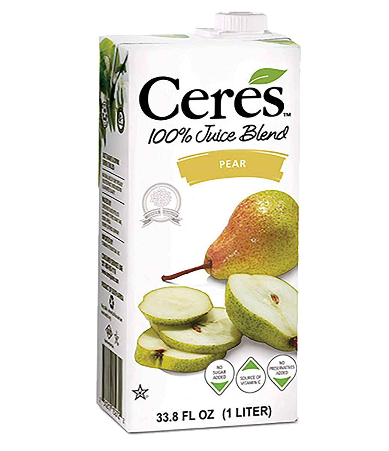 Ceres 100% All Natural Pure Fruit Juice Blend - Gluten Free, Rich in Vitamin C, No Sugar or Preservatives Added - 33.8 FL OZ, Pear (Pack of 12)