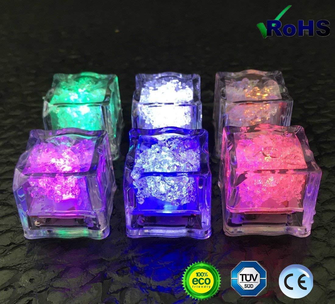Leuchtendes Eis 12 Flammenlose Flüssigkeitssensoren Siebenfarbige Led Eiswürfel Lichter Hochzeit Geburtstag Weihnachten Junggesellenabschied