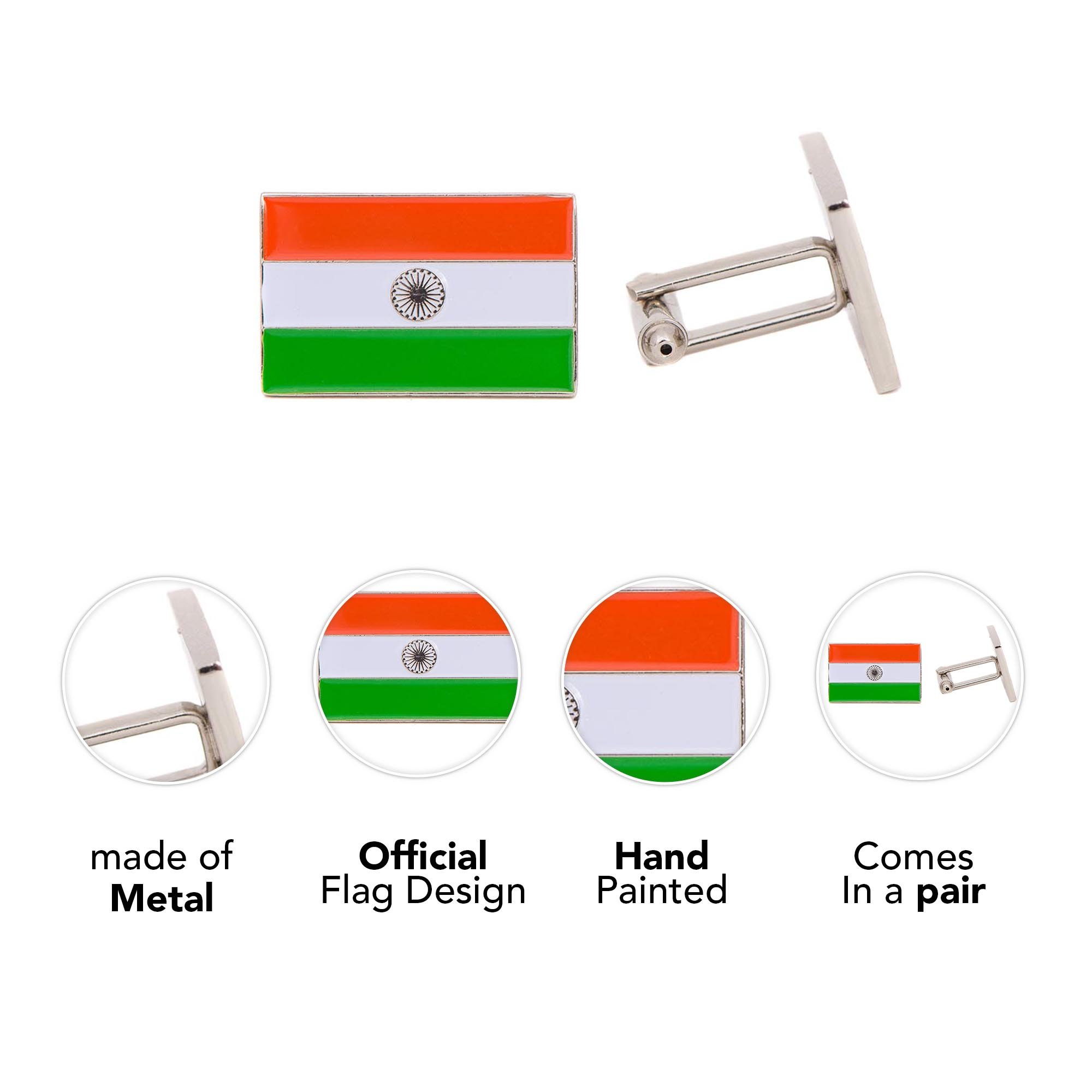 Desert Cactus India Rectangle Country Flag Cufflinks Formal Wear Blazer For French Cuff Shirt Indian by Desert Cactus (Image #4)