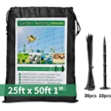 """Bird Netting 25 X 50 ft Garden Net 1"""" Square Mesh Size - Protect Fruit Tree, Plant and Vegetables Against Birds, Deer and Pests, Heavy Duty Poultry Blueberry Nets for Garden, Farm, Orchard, Pond Pool"""
