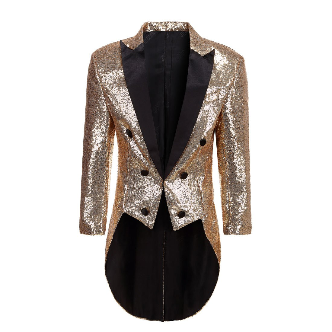 PYJTRL Mens Fashion Colorful Sequins Tailcoat Tuxedo (Gold, L/42R)