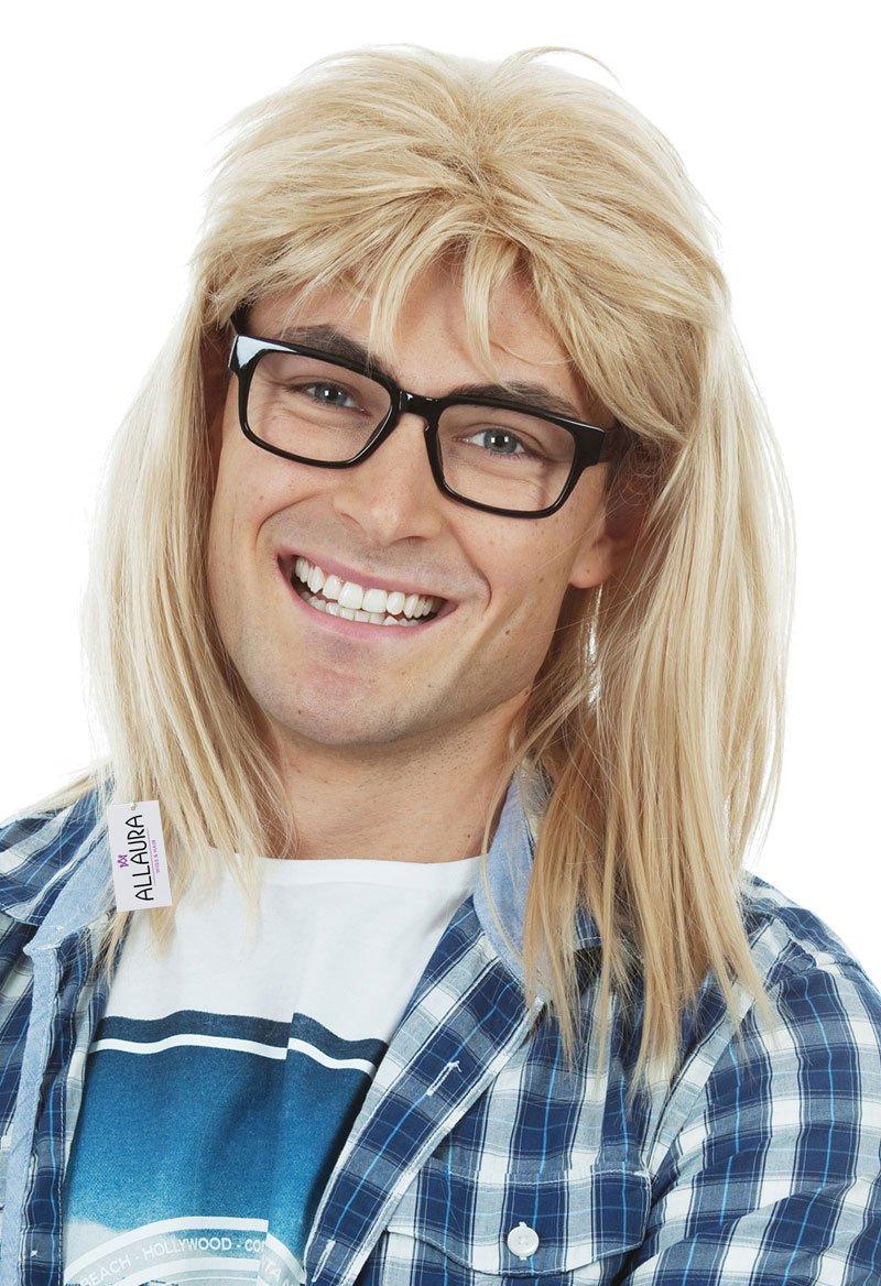 ALLAURA Waynes World Wig – Garth Algar Hair and Glasses – 80s Blonde Mullet Wigs for Men