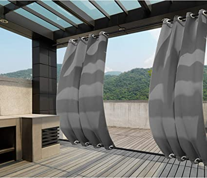 1 Panel Macochico Outdoor Windproof Curtains Thermal Insulated Noise Reducing Waterproof Blackout Draperies Grommet at Top and Bottom for Patio Porch Gazebo Garden Beige 52W x 84L