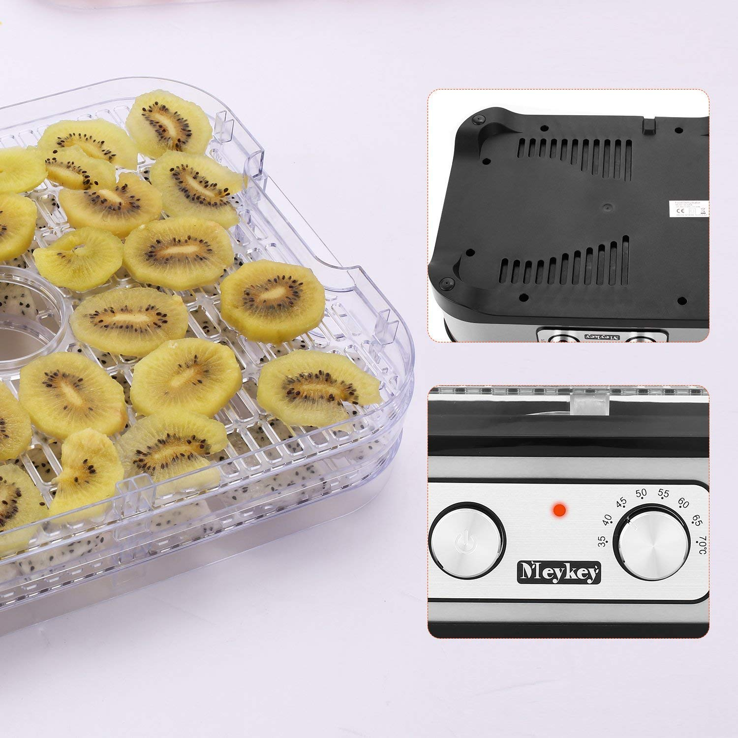 Food Dehydrator Machine by Electricity,5 Trays/Knob Button/250W/Temperature adjustable(95-158℉) by Homdox (Image #7)