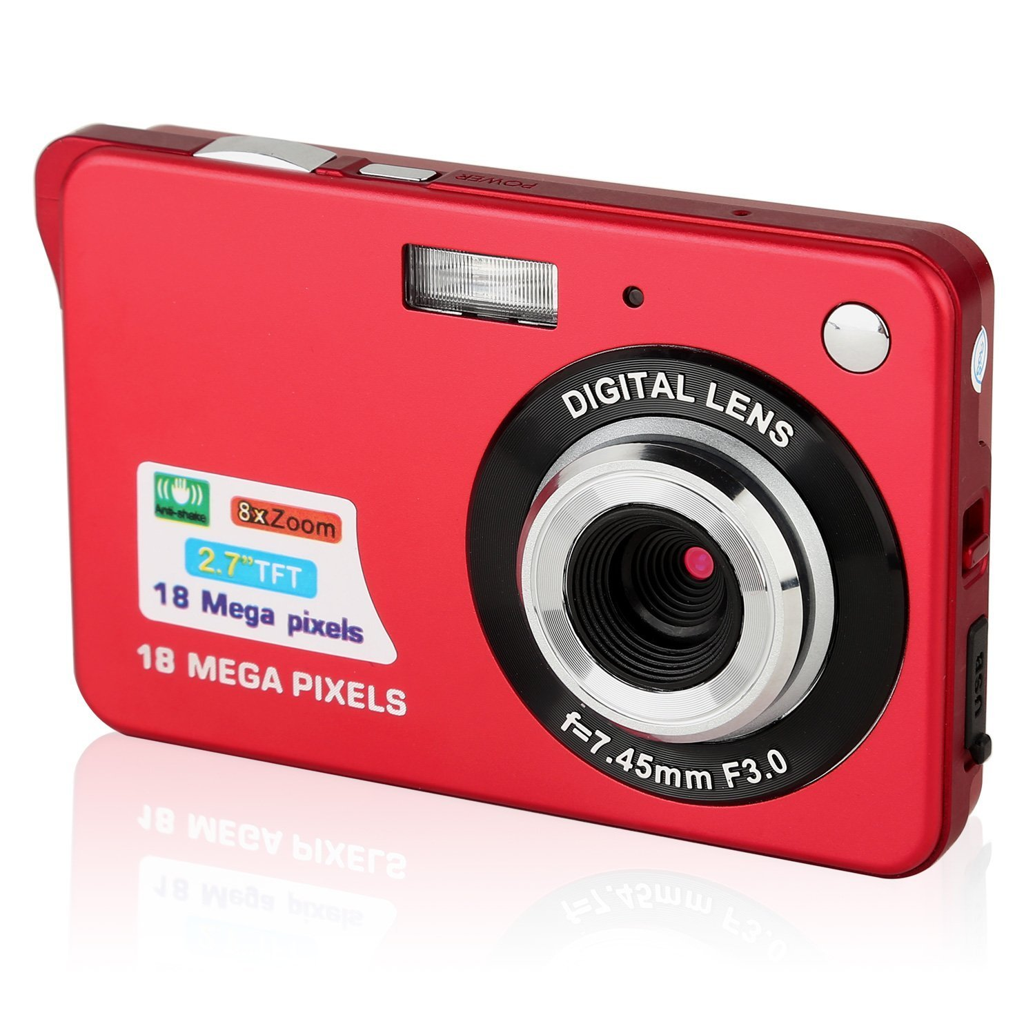 GordVE SJB26 2.7inch 18MP Mini Digital Camera 8x Digital Zoom Red Color by GordVE