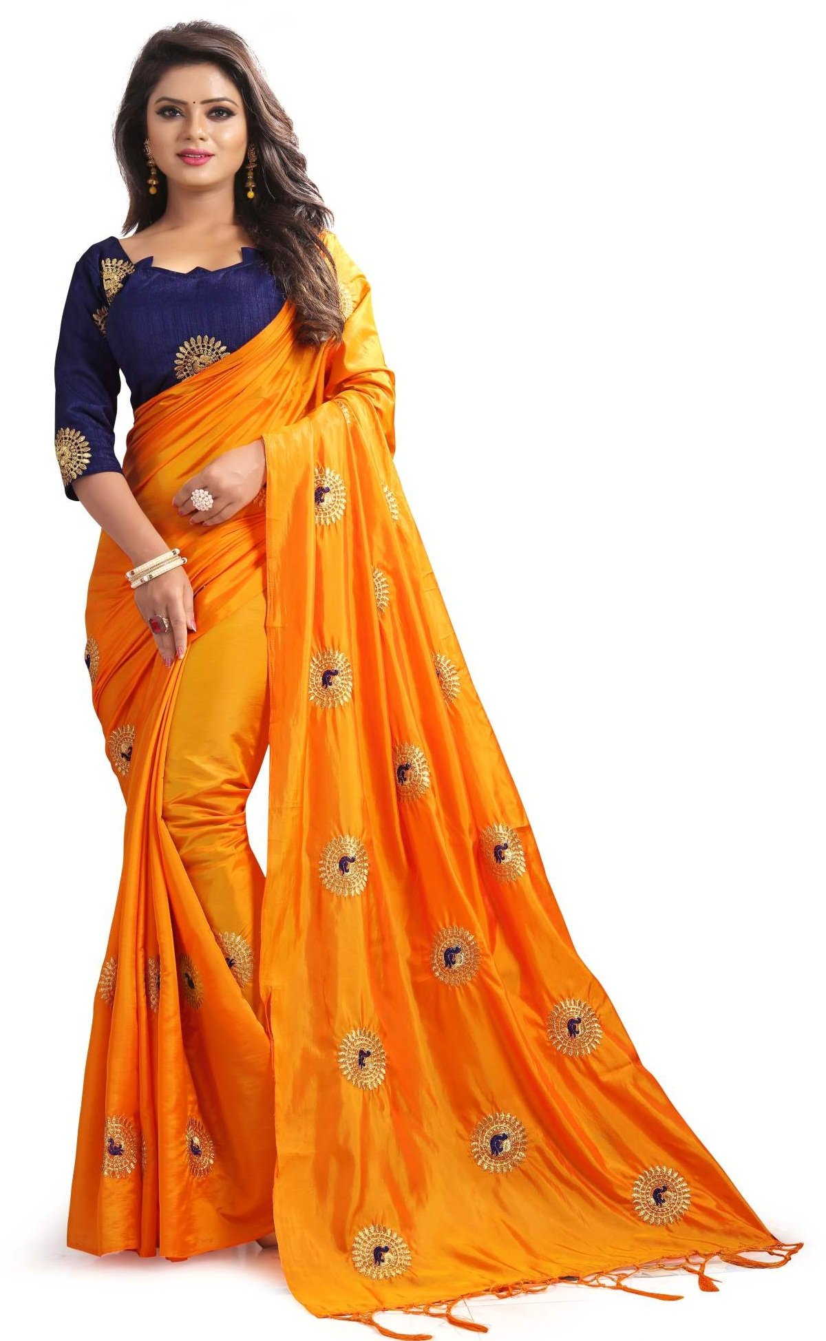 Mirraw Traditional Designer Orange Paper Silk Embroidery Saree for Women with Unstitched Blouse