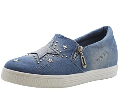 Ladies Womens Flat Casual Funky Denim Star Stud Skater Pumps Trainers Shoes Size
