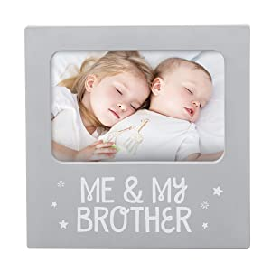 Tiny Ideas 'Me & My Brother' Sentiment Keepsake Frame, Gift for Brother, Big Brother Big Sister Gifts, Gray