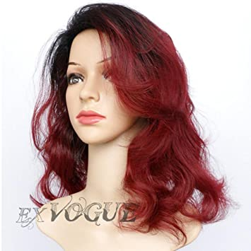 Exvogue Dark Wine Red Ombre Wigs For Women Medium Length Wavy Synthetic  Burgundy Wig With Black