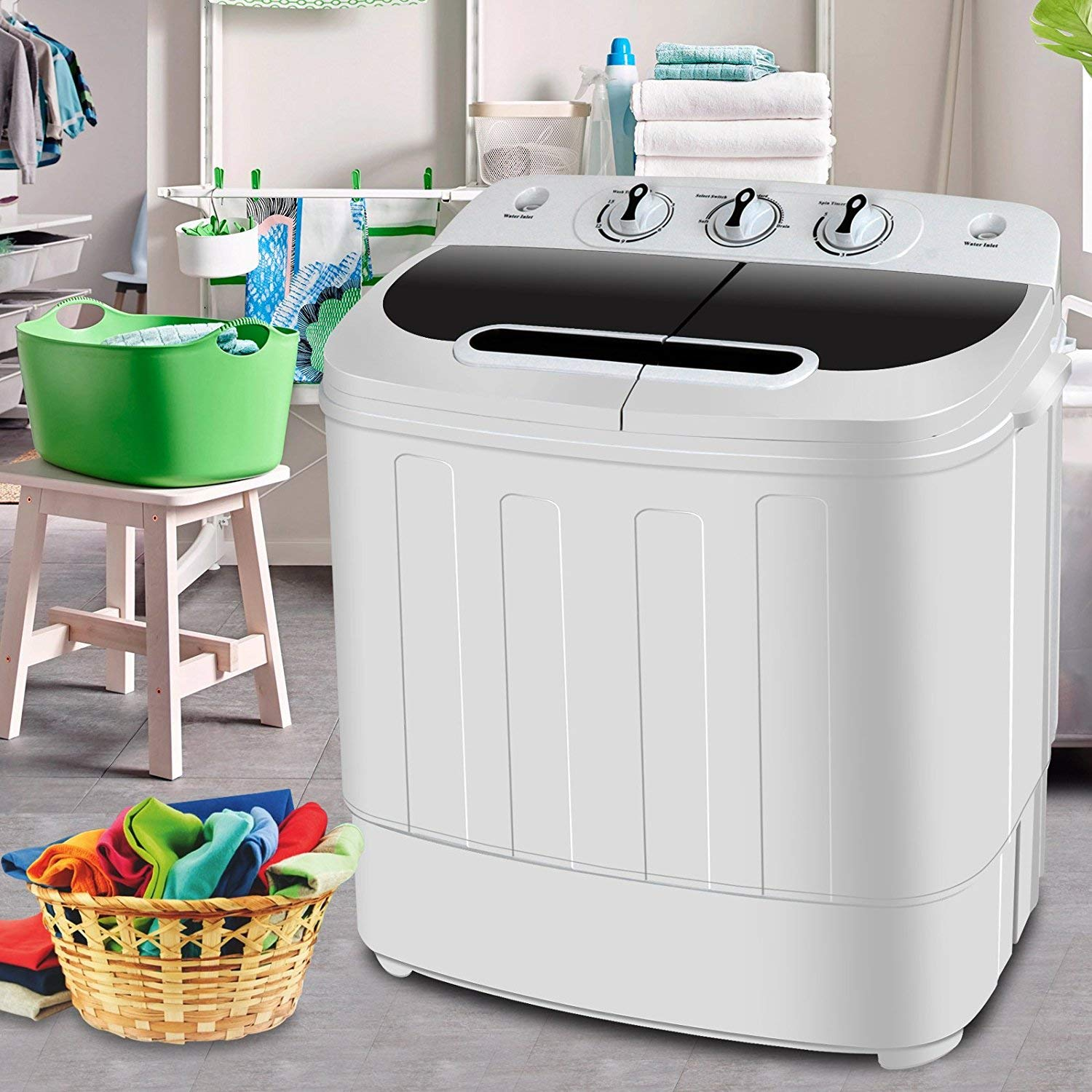 BBBuy 13lbs Portable Mini Compact Twin Tub Washing Machine Washer Spin Dryer Cycle for Dorms, Apartments, RVs, Camping, College Rooms