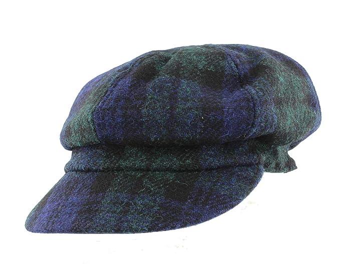 9af2419f92c8d Failsworth Ladies Harris Tweed Bakerboy Cap (Black Watch)  Amazon.co.uk   Clothing