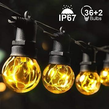 Guirnalda Exterior Decoracion MYCARBON Jardin Guirnalda Luces Exterio Luces LED Decoracion IP67 con 36 Bombillas para la Fiesta de Navidad Boda Noche Decoración de interiores: Amazon.es: Bricolaje y herramientas