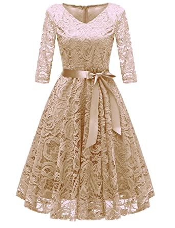 78ec76a59f Women's 1950s Retro Bow Tie Half Sleeve Bridemaid Aline Dress Hollow Floral  High Waist Lace Party Dress at Amazon Women's Clothing store: