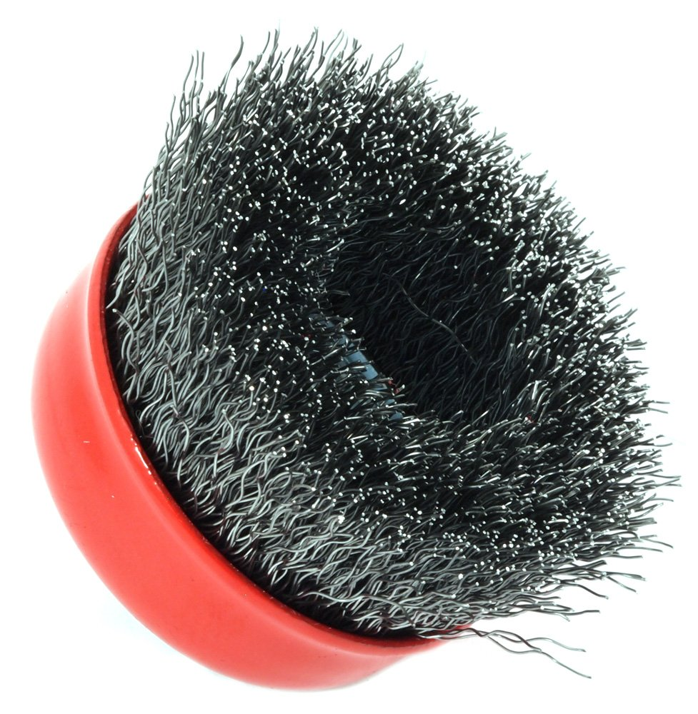 Forney 72780 Wire Cup Brush Crimped with M10-by-1.25 Arbor 2-3//4-Inch-by-.014-Inch