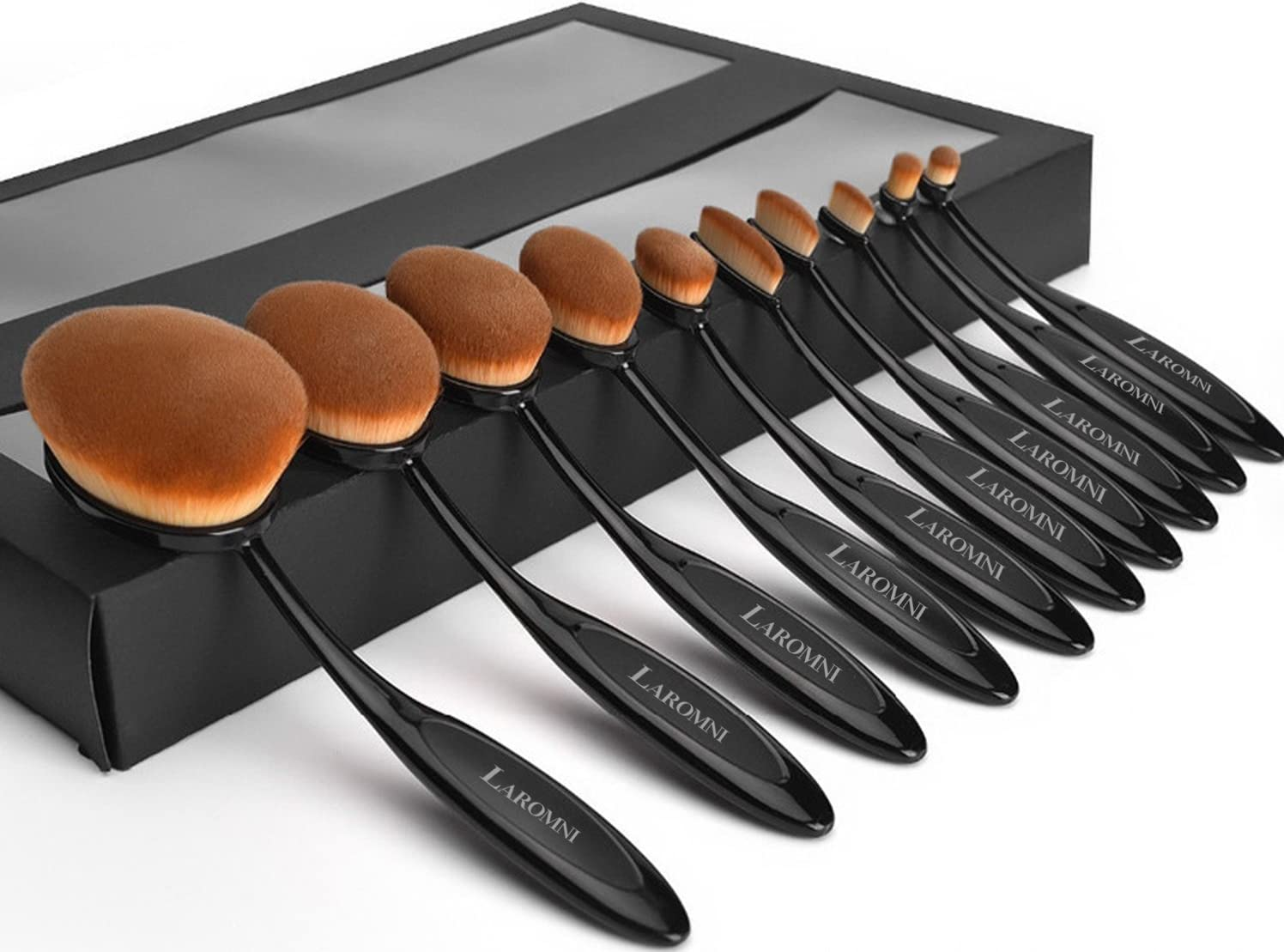 iMounTek Makeup Brushes Set 10Pcs Premium Oval Toothbrush Makeup Brushes with Refined Gift Box Flexible Brushes Soft Toothbrush Shaped for Foundation Concealer BB Cream Powder