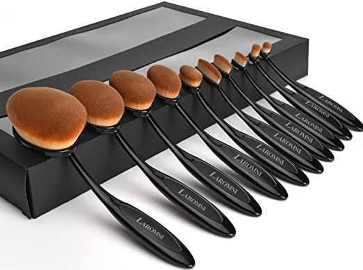 GPCT 10 Pieces Professional [High Quality] Soft [Oval-Shaped] Vegan Makeup Brushes Set- Foundation Powder/Blush Brush/Eye Shadow/Concealer/Lip/Eyeliner Toothbrush Curve Tools- Face/Eyes (Black/Gold)