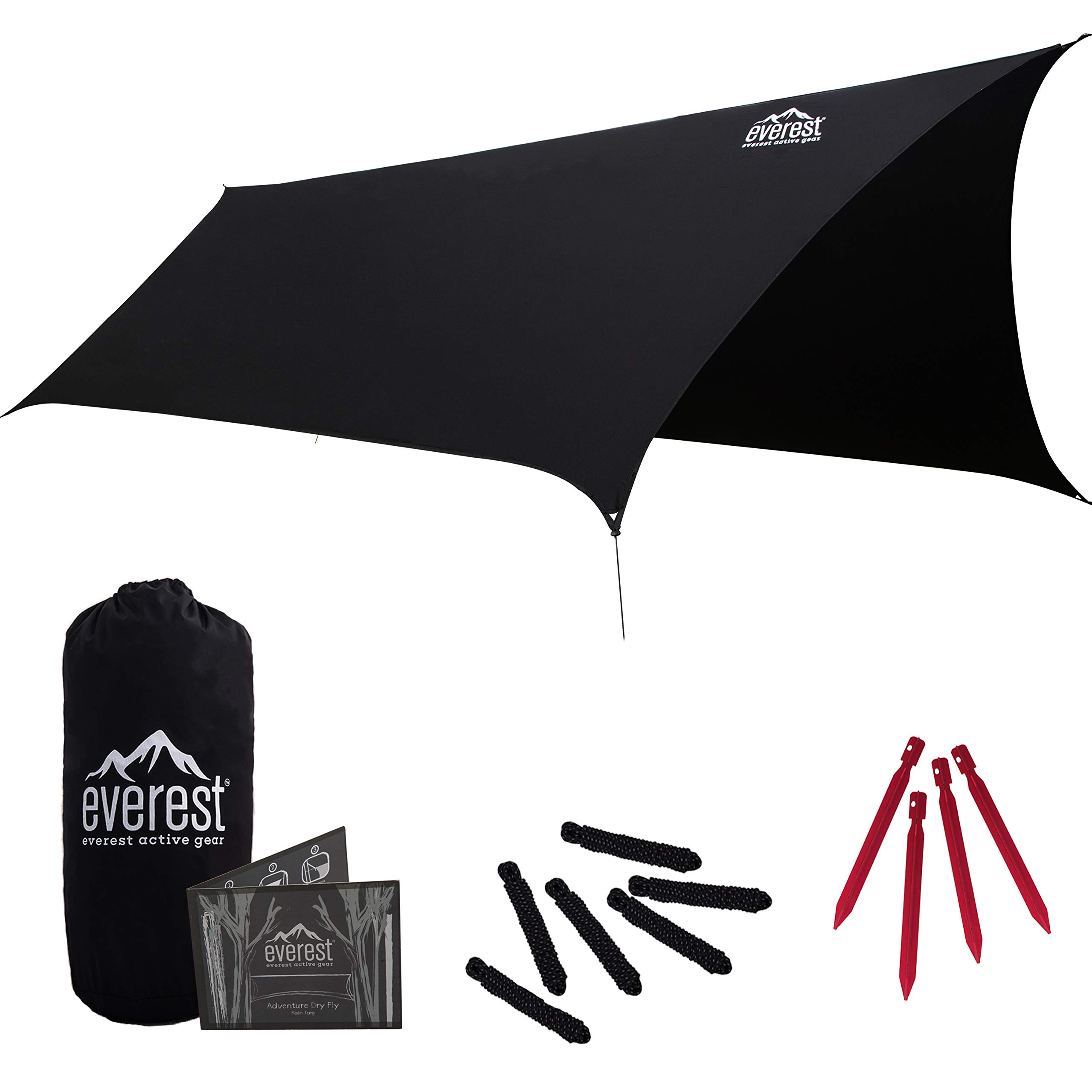 Everest Hammock Rain Fly | Waterproof Outdoor Tarp | Perfect for Camping, Backpacking, Tents, Hammocks, and More | Ripstop Nylon | Lightweight Aluminum Stakes Included - Black by everest active gear