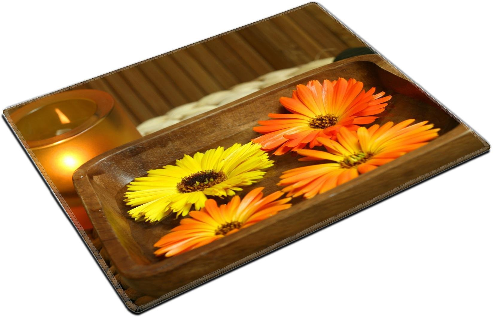MSD Place Mat Non-Slip Natural Rubber Desk Pads Design: 10353816 Spa Treatment for Beauty and Relax Candle and Calendula Flowers