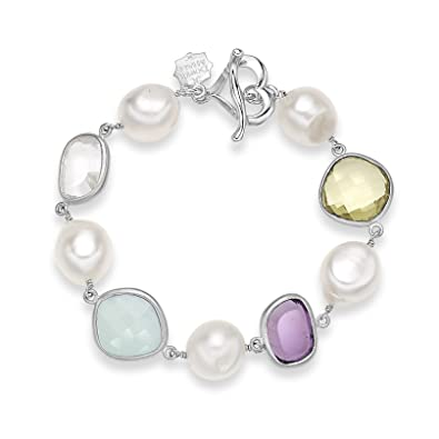 Dower & Hall Jewel Sterling Silver Faceted Multi Gemstone and Freshwater Pearl T-Bar Bracelet of 20.50 cm alJdM77ot