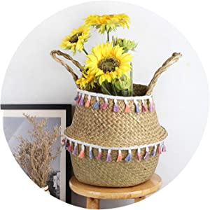 Household Natural Seagrass Wicker Hanging Basket Woven Storage Pot Garden Flower Vase Hanging Basket for Toy Storage Basket,2,23cmX20cm
