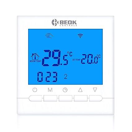 Beok BOT-313 WiFi Programable Cableado Digital Calderas De Gas Termostato Se Puede Controlar Por APP Controlador , Pantalla LCD AC220V 3A,Azul