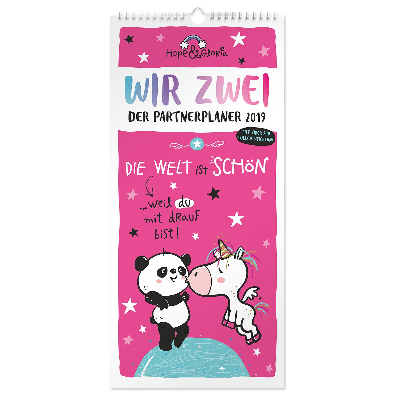 Die Geschenkewelt 45523 sheepworld Partner-Kalender 2019 Kalender f/ür P/ärchen Wand-Kalender mit 3 Spalten Kalender 2019 mit 12 Monatsseiten