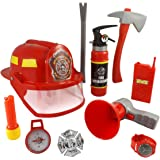 10 Pcs Fireman Gear Firefighter Costume Role Play Toy Set for Kids with Helmet and Accessories