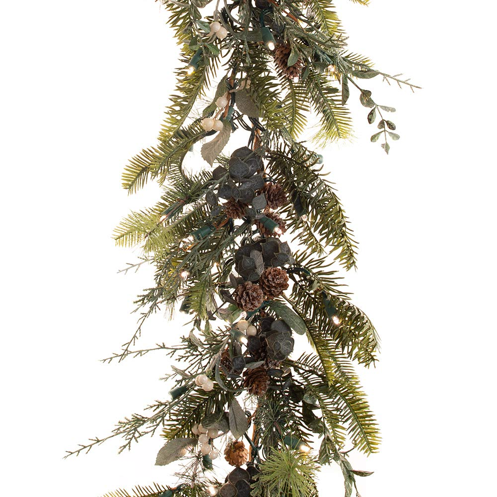 9 ft. Artificial Pre Lit LED Decorated Garland - Rustic White Berry Christmas Garland - 100 super mini LED warm clear colored lights with timer and battery pack for indoor and outdoor use