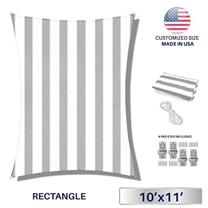 Windscreen4less 10' x 11' Sun Shade Sail UV Block Fabric Canopy in Wide  Grey/White Stripes Rectangle for Patio Garden with Free Pad Eyes Customized