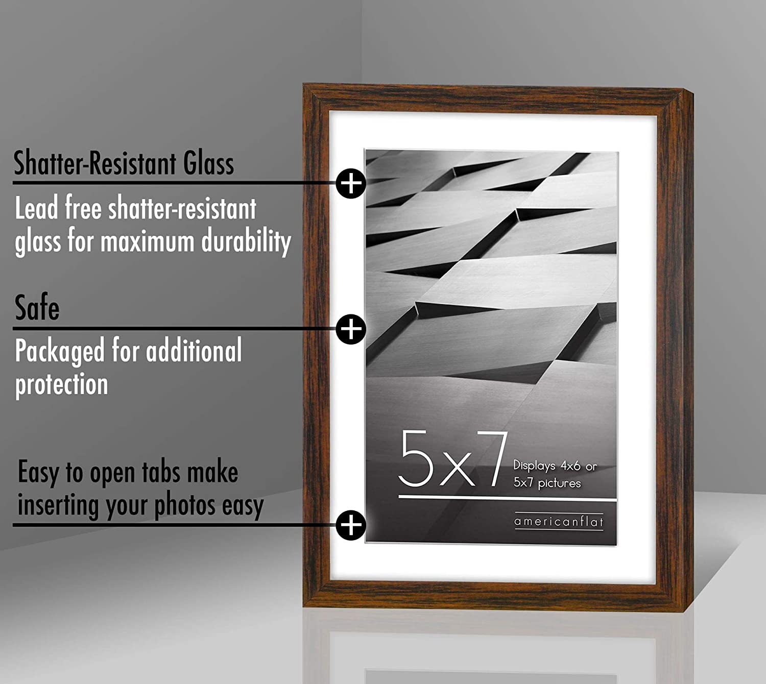 Americanflat Thin Picture Frame in Black with Shatter Resistant Glass Horizontal and Vertical Formats for Wall and Tabletop 8 x 10