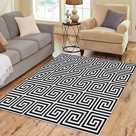 Pinbeam Area Rug Black and White Classic Meander Greek Key Monochrome Home Decor Floor Rug 5 x 7 Carpet