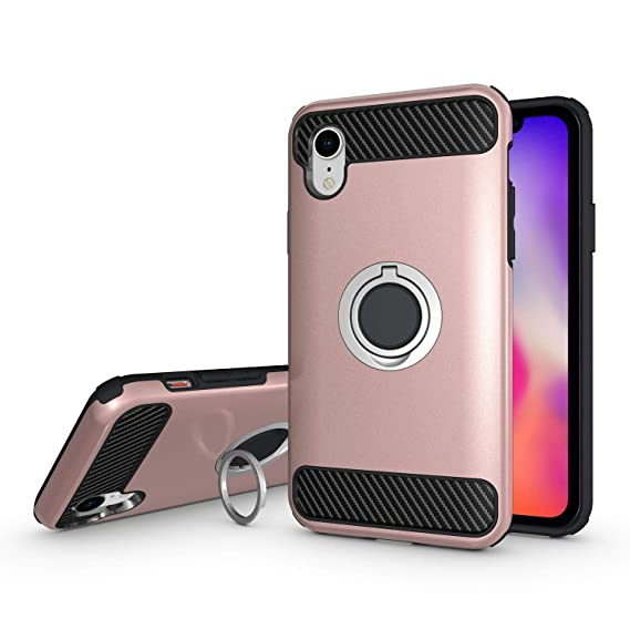 pretty nice c70e2 c5d5d Olixar iPhone XR Ring Case - Finger Loop - Tough Protective Design - Built  in Media Viewing Stand - ArmaRing - Rose Gold