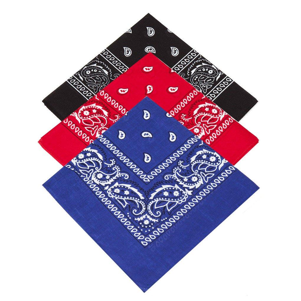 **(Black, Red, Royal Blue) Set of 3 x Paisley Bandana for Women Men Girls, Children, girls, boys Handkerchief Head tie Neck Tie Neckerchief shawl hankie neckwear Gangster cowboy party wear novelty wear**