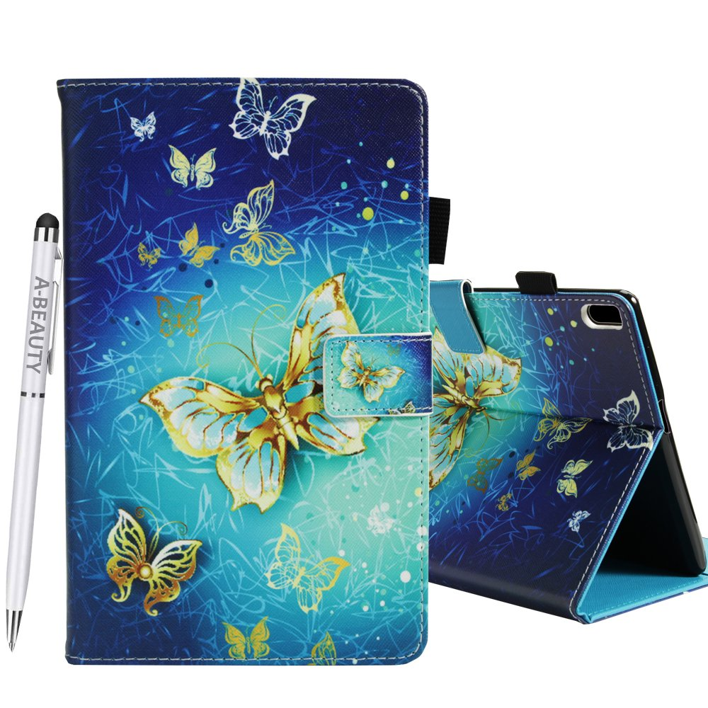A-BEAUTY Lenovo Tab 4 10 Plus case, Painted Leather Soft TPU [Card Slots] Stand Wallet Smart Cover Shockproof For Lenovo Tab 4 10 Plus Tablet 2017 Release + 1* Free Stylus Pen, Golden Butterfly