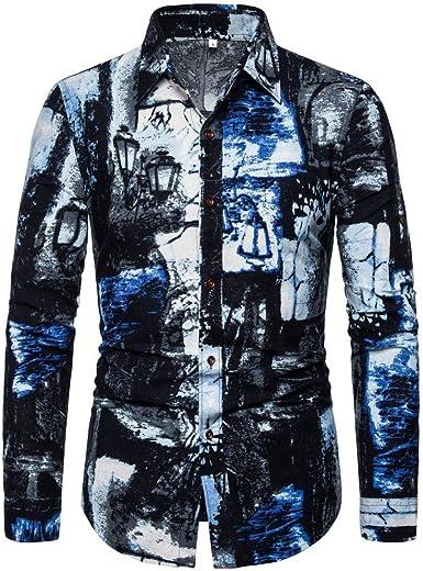 CAOQAO Camisas Hombre Manga Larga M-XXXXXL Algodón & poliéster Impresión de Estilo étnico Vintage: Amazon.es: Ropa y accesorios