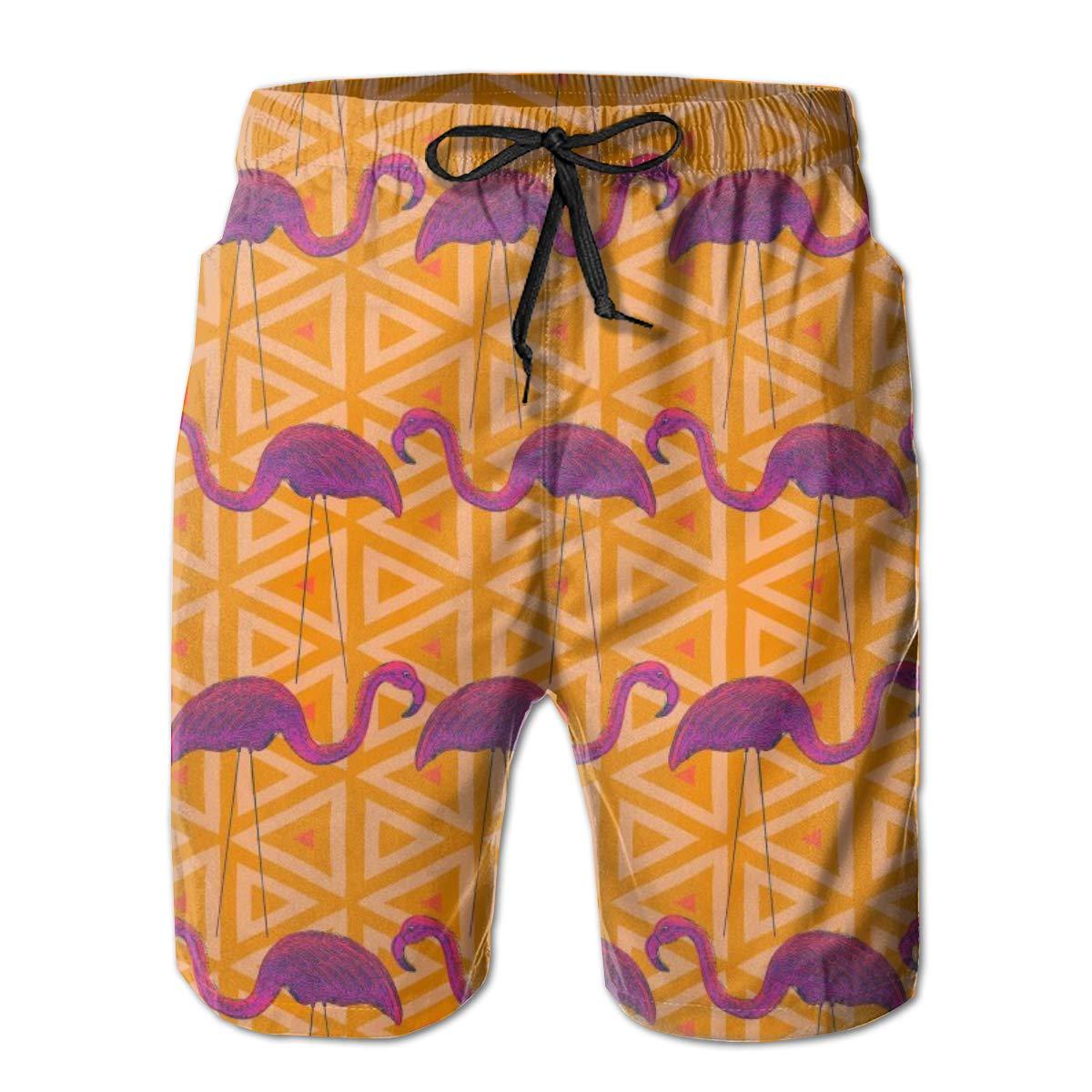 Mens Swim Trunks Orange Flamingos Quick Dry Beach Board Shorts with Mesh Lining