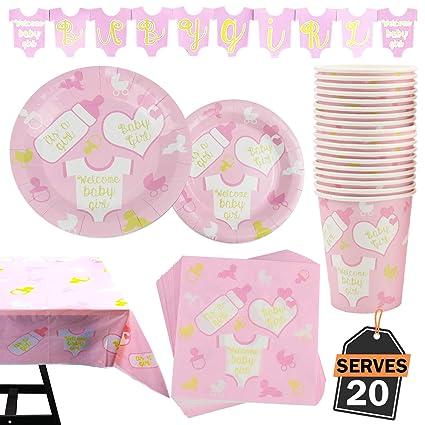 Amazon.com: Juego de 82 piezas para fiesta de bebé, incluye ...