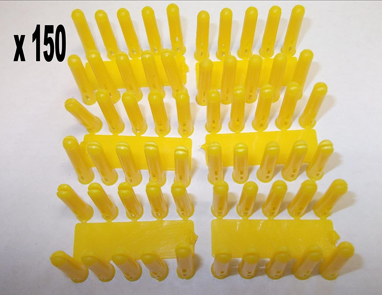 150 x Yellow Rawl Plugs 5.0mm x 25mm Plastic Masonry Plugs Wall Plugs Fixings Brick Stone Concrete