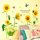 Anself Luce del sole girasole Farfalla Danza in estate Bella smontabile Child Room Decor Decal Wall Stickers DIY Kid