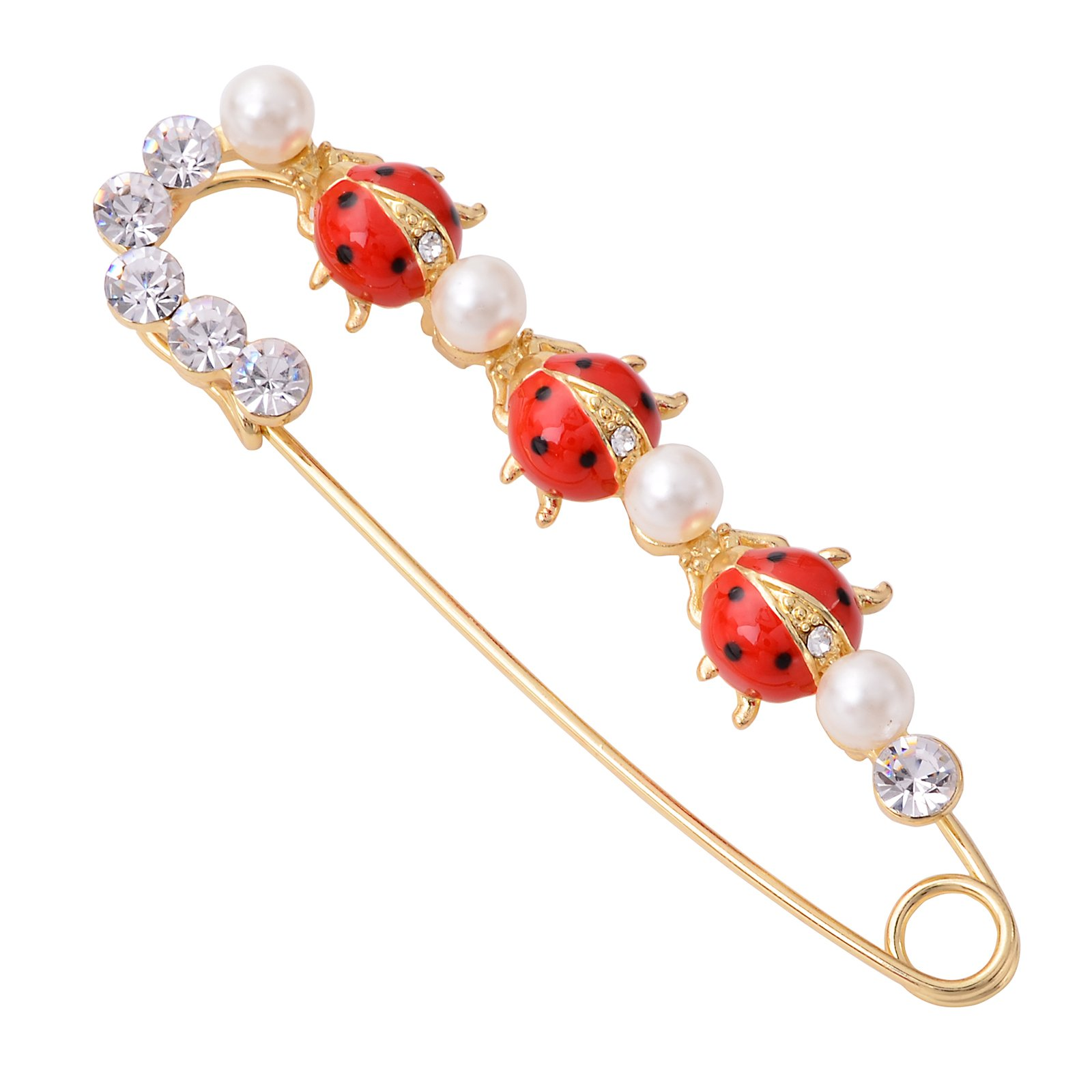 OBONNIE Gold Plated Red Enamel Crystal Insect Ladybugs Pin Brooch Lapel Pin Large Safety Pin