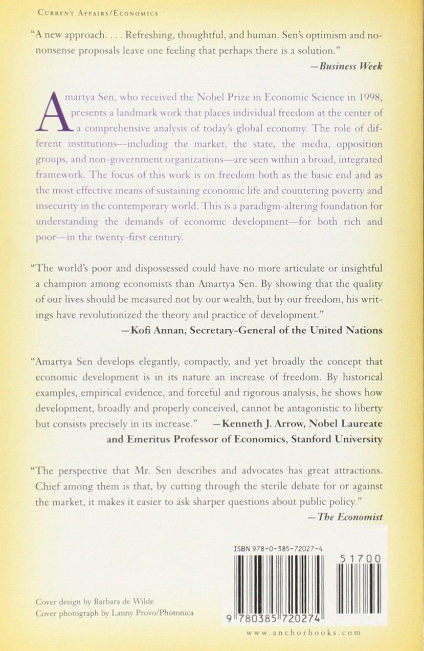 Development As Freedom Amartya Sen 9780385720274 Amazon Books