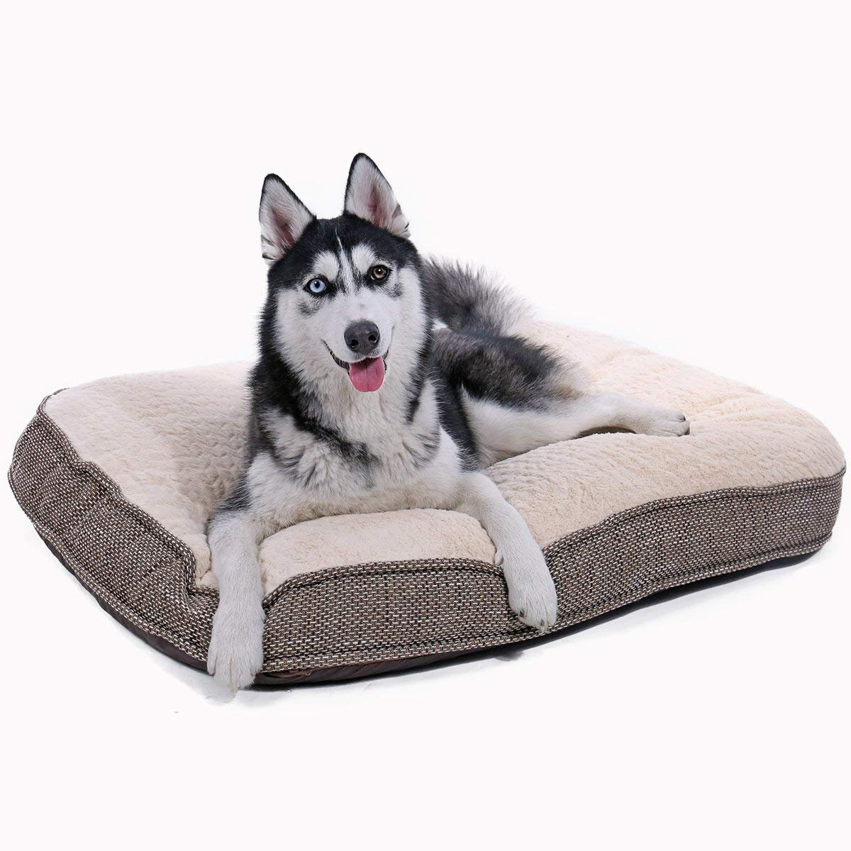 PAWZ Road Luxury Dog Bed Cushion Mat Suitable for Medium and Large Dog Features Removable Cover,Water-Resistant and Anti-Skidding Bottom, Machine Washable, Beige-33 X26