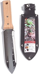 "Nisaku NJP640 Hori Weeding & Digging Knife-Double Sharp Edge, Authentic Tomita (Est. 1960) Japanese Stainless Steel, 7.25"" Blade, Wood Handle"