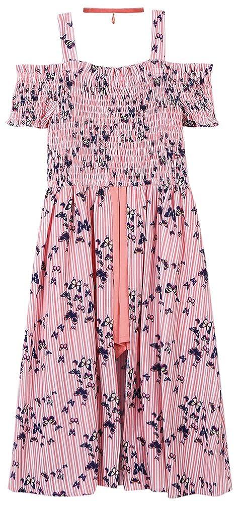 f28884b64c5 Amazon.com  Speechless Girls  Big Shoulder Smocked Midi Romper Dress   Clothing