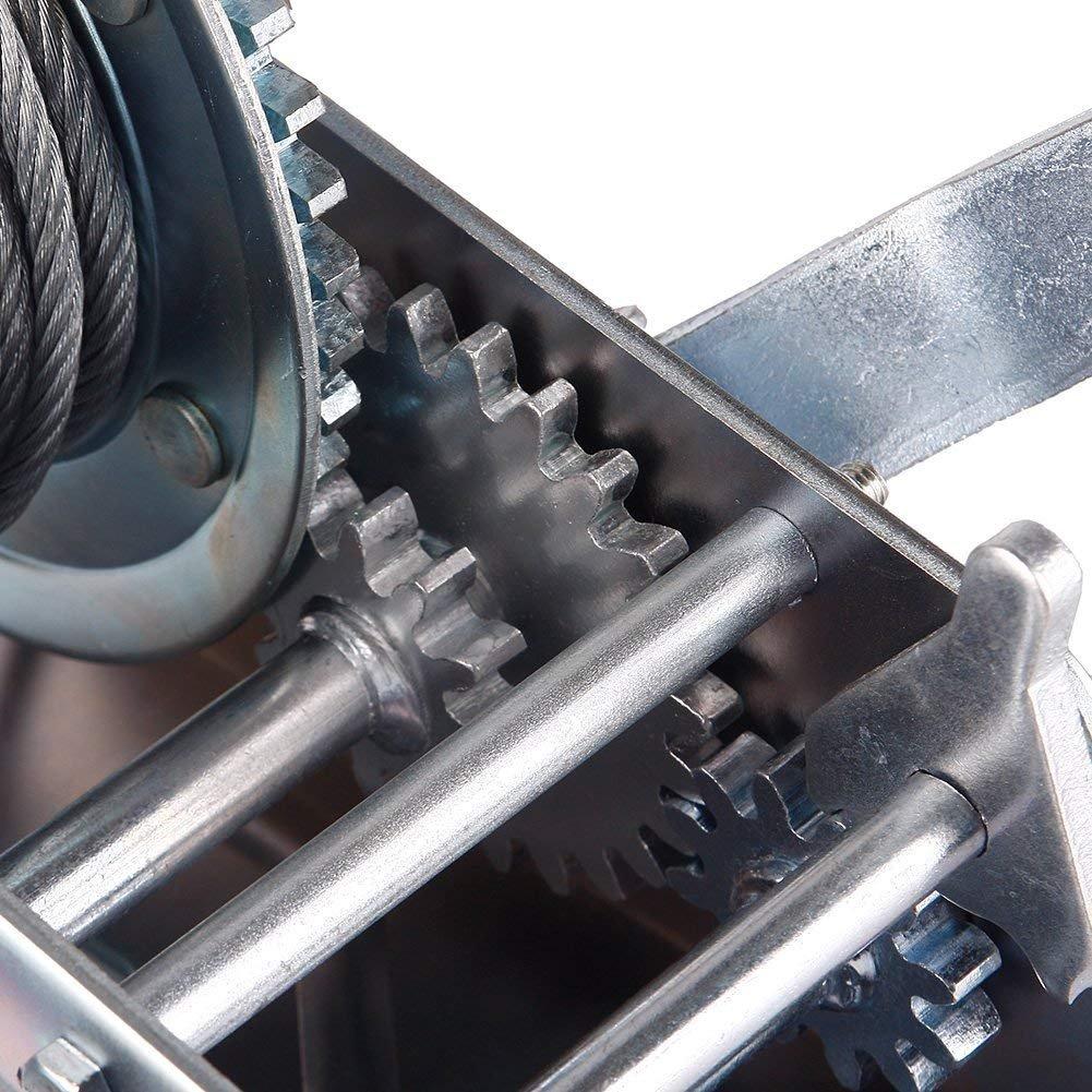 RUNGAO 3500lbs Dual Gear Hand Winch Hand Crank Manual Boat ATV RV ...