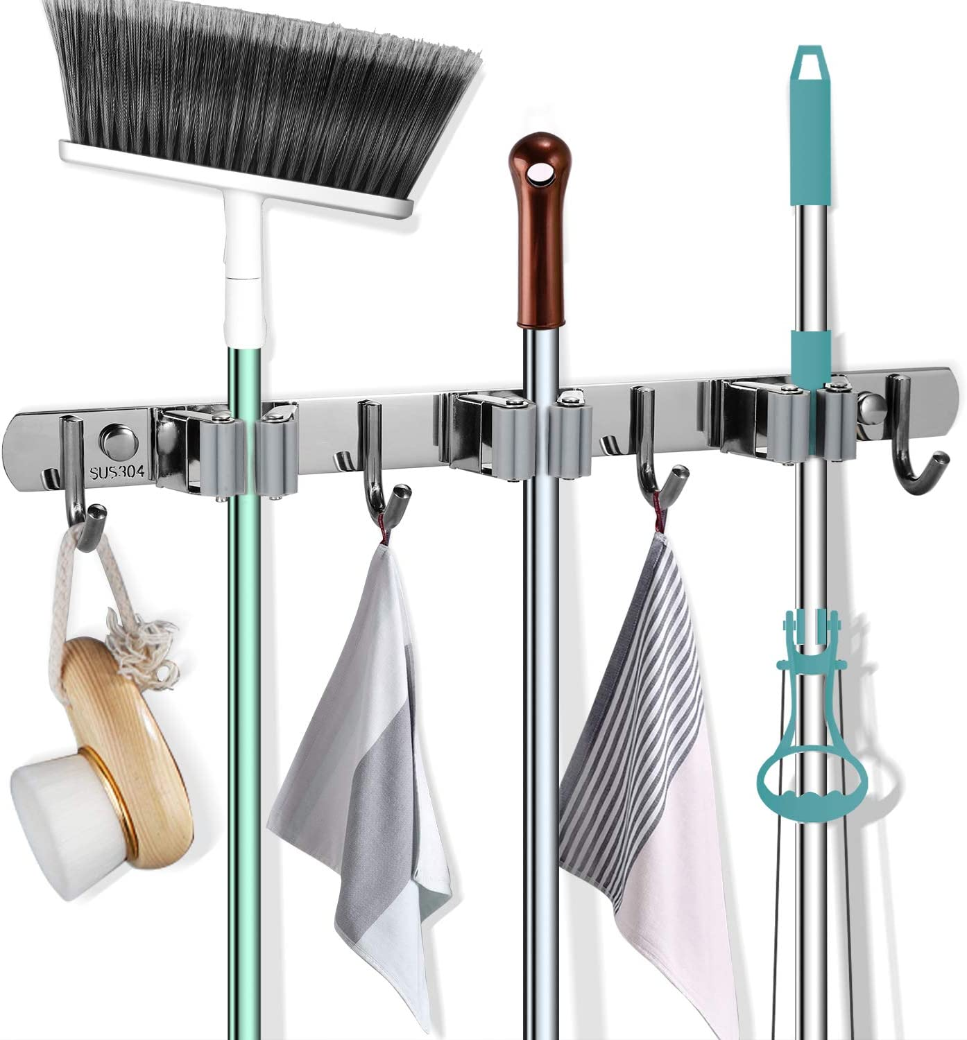 SellSense Mop and Broom Holder Wall Mount Kitchen Garage Garden Tool Organizer 16 Fastening Locations The Best Heavy Duty Storage Organizer.